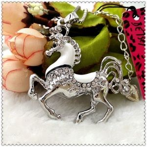 Betsey Johnson Crystal Pony Necklace